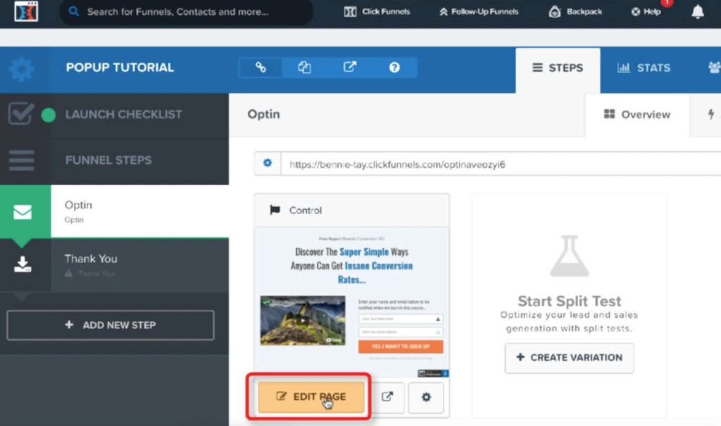 ClickFunnels Funnel Steps page
